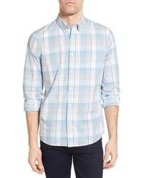 Nordstrom Shop Slim Fit Washed Plaid Sport Shirt