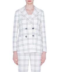Akris Windowpane Plaid Double Breasted Crepe Jacket