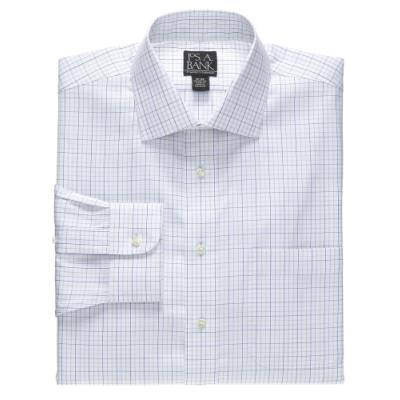 Jos a bank traveler spread collar plaid dress shirt for Joseph banks dress shirts
