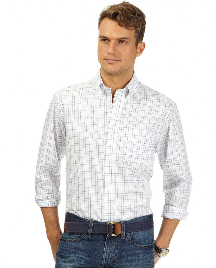 White plaid dress shirt nautica core plaid anchor wrinkle for Buy white dress shirt