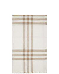 Burberry Off White And Pink Gauze Giant Check Scarf