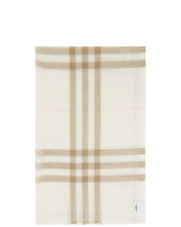 Burberry Off White Wool Check Scarf
