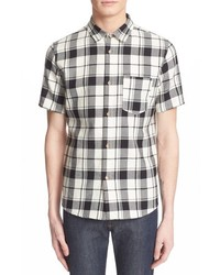 White Plaid Short Sleeve Shirt