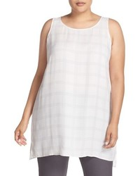Eileen Fisher Plus Size Plaid Scoop Neck Silk Tunic
