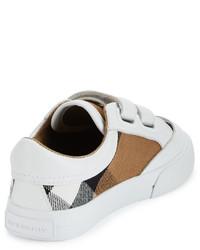Burberry Heacham Check Canvas Sneaker Whitetan Toddler Sizes 7 10