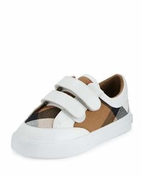 Burberry Heacham Check Canvas Sneaker Whitetan Toddler Sizes 7 10