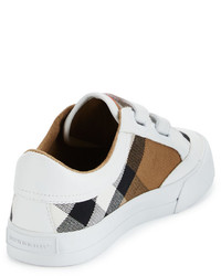 Burberry Heacham Check Canvas Sneaker Whitetan Toddleryouth Sizes 10t 4y