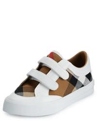 Burberry Heacham Check Canvas Sneaker Whitetan Youth