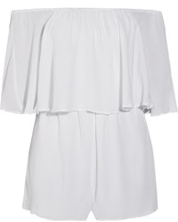 Alice + Olivia Alivia Off The Shoulder Crinkled Voile Playsuit