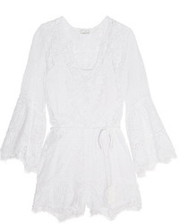 Miguelina Genie Crocheted Cotton Playsuit White