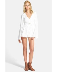 MinkPink Follow Me To Heaven Bell Sleeve Crepe Romper White Small