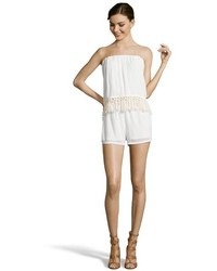 Wyatt Mint Stretch Strapless Tassel Trimmed Romper