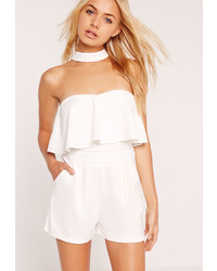 72e3f21c3ad ... Missguided Choker Neck Frill Bandeau Playsuit White