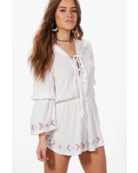 Boohoo Petite Petra Lace Up Detail Embroidered Playsuit