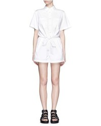 Alexander Wang T By Cotton Poplin Tie Front Rompers