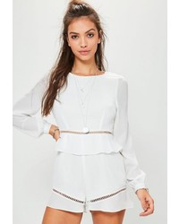 Missguided White Frill Waist Ladder Insert Playsuit