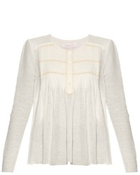 See by Chloe See By Chlo Pleated Round Neck Blouse