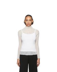 Issey Miyake White Long Sleeve Twist Chiffon Blouse