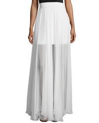 Flowy silk maxi skirt w front slit medium 1158782