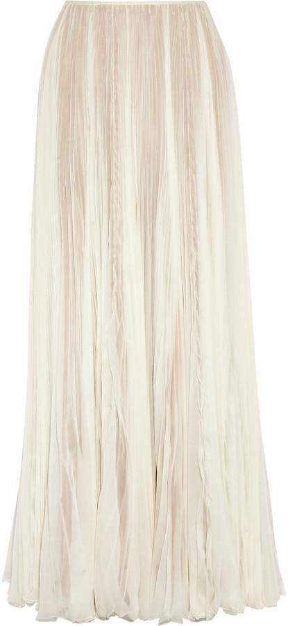 rochas pleated silk chiffon maxi skirt where to buy