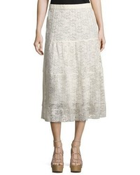 See by Chloe Pleated Burnout Chiffon Midi Skirt White