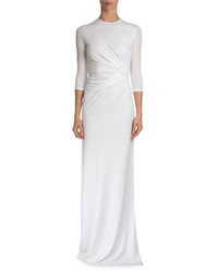34 sleeve pleated front gown white medium 365937