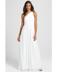 Donna Morgan Rachel Ruched One Shoulder Chiffon Gown