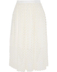 White Pleated Lace Midi Skirt