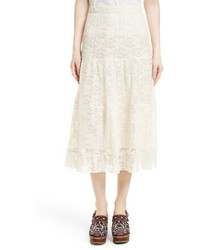 See by Chloe Pleated Lace Midi Skirt