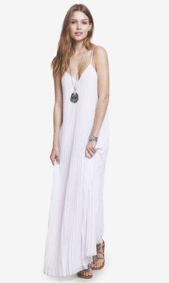 6f4459313b4 ... Express White Accordion Pleated Chiffon Maxi Dress ...