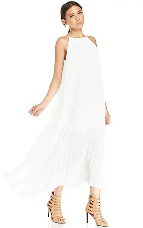 845cba547db ... Off Shoulder Pleated Maxi White Dress ...