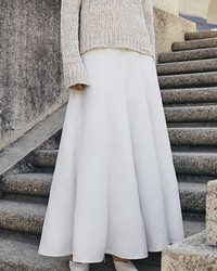 Co Belted Pleated Maxi Skirt Ivory