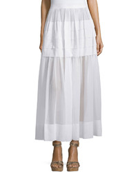 Michael Kors Michl Kors Collection Tiered Cotton Maxi Skirt Optic White