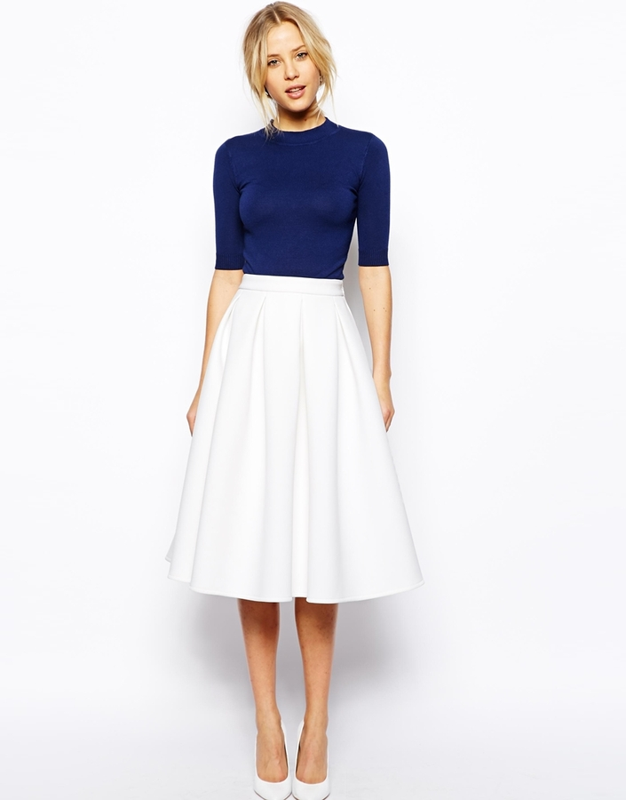 Asos Collection Premium Full Midi Skirt In Bonded Crepe | Where to ...