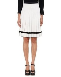 Marc Jacobs Charmeuse Knife Pleated Skirt Black White