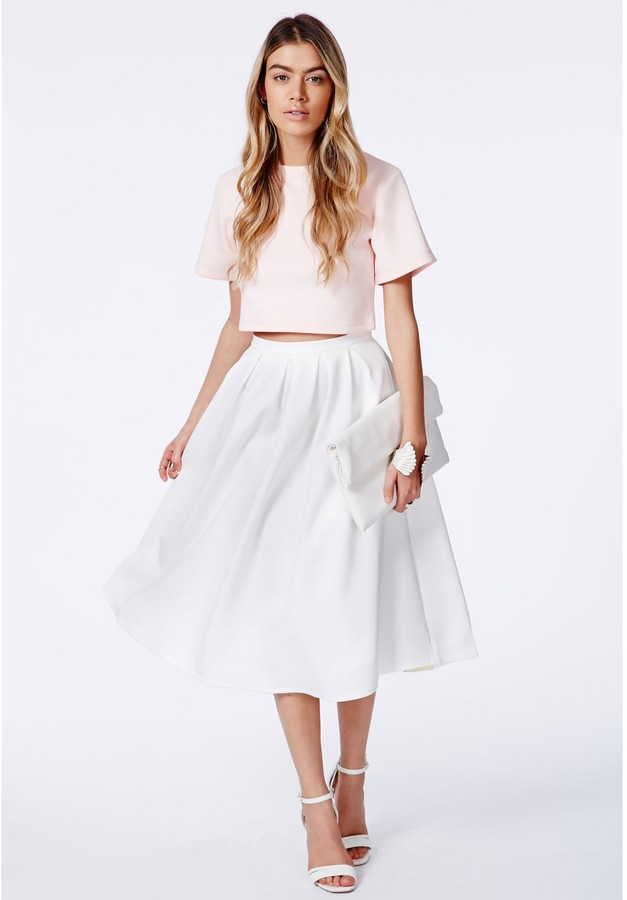 Missguided Auberta White Pleated Midi Skirt In Scuba | Where to ...