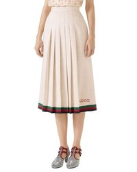 Gucci Pleated Linen Silk Skirt