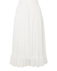 Chloé Shirred Silk Crepon Midi Skirt
