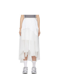Sacai White Pleated Wrap Skirt