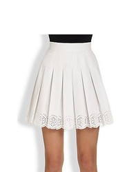 Alexander McQueen Pleated Eyelet Mini Skirt Optical White