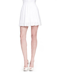 Alexander McQueen Pleated Sangallo Lace Skirt White