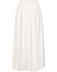 3.1 Phillip Lim Pleated Satin And Cotton Poplin Midi Skirt