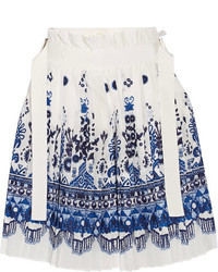 Sacai Twill Trimmed Pleated Printed Voile Shorts White
