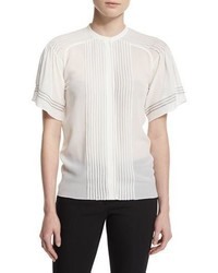 Burberry Prorsum Short Sleeve Pleated Silk Blouse White