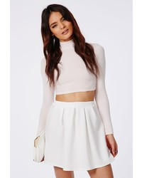 Missguided Cornelia Scuba Pleated Skater Skirt White