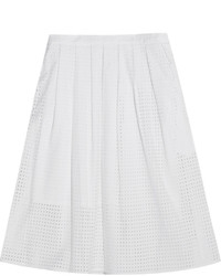 MICHAEL Michael Kors Michl Michl Kors Pleated Broderie Anglaise Cotton Skirt White