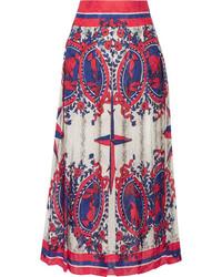 Gucci Pleated Printed Jacquard Midi Skirt Ivory