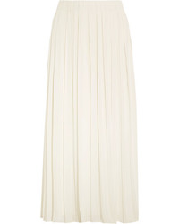 Elizabeth and James Quinn Pleated Crepe De Chine Midi Skirt Ivory