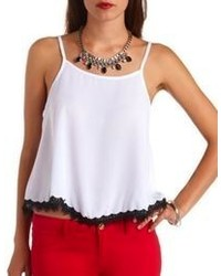 Charlotte Russe Contrast Lace Trimmed Swing Tank Top