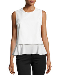 Madison Marcus Faux Leather Ruffle Hem Tank White